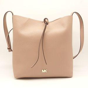 NWT Michael Kors Bucket Shoulder Bag Beige Leather